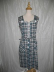 1940's Dress Blue Plaid